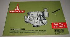 Ersatzteilliste Deutz Motor luftgekühlt F6L 514 / F6L 514 F Spare Parts 01/1968!