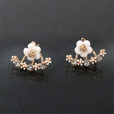 Nice 1 Pair Rose Gold Silver Plated Daisy Flower Crystal Stud Earrings