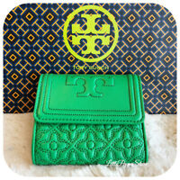 NWT TORY BURCH QUILTED LEATHER BRYANT FOLDABLE MINI WALLET IN COURT GREEN/316