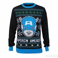 Captain America Ugly Christmas Sweater MENS Black Holiday SIZE XL Marvel Comics