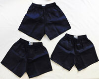 Pack of 3 Rugby football shorts Halbro navy blue cotton drill men boys girls NEW