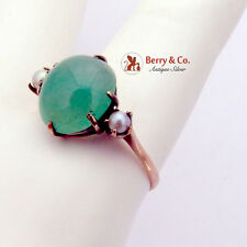 Aventurine Cabochon Ring Seed Pearl Accents 14K Yellow Gold 1930
