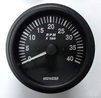 Tachometer 0-4000 RPM Ignition Coil Driven Black Bezel +24V