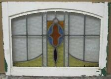 """MID SIZED OLD ENGLISH LEADED STAINED GLASS WINDOW Pretty Geometric 25"""" x 16"""""""