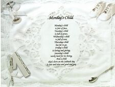 Monday'S Child, Baby Child Print Personalized Name Meaning Poem Prayer