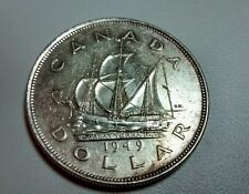 Canada 1949 1 Dollar Silver Newfoundland Ship   EF/AU