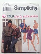 Simplicity 8150 AA XS-M 3 Hr Shorts Shirts Tie Pattern Uncut