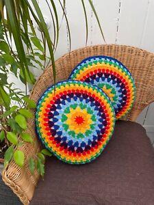 Round Cushions x2 Rainbow Throw Pillows Handmade Crochet Boho Retro Style