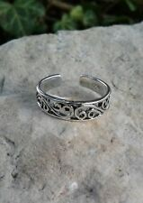 Swirl Toe Ring, Solid Sterling Silver Adjustable Swirl Toe Ring