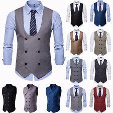 Men Formal Business Suit Vest Jacket Tuxedo Slim Fit Sleeveless Waistcoat Coat