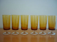 SET OF 6 GORGEOUS VINTAGE AMBER FOOTED GLASSES