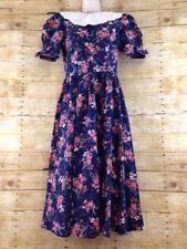 Vtg Paquette Womens 10 Victorian Edwardian Old West Floral Modest Prairie Dress