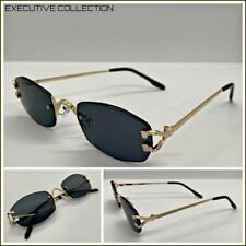 Hombre Clásico Elegante Sofisticado Gafas de Sol Lujo Moda Oro sin Montura Marco