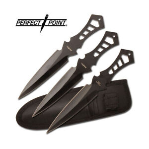 """PERFECT POINT SET OF 3 THROWING KNIVES + SHEATH DARTS STAINLESS BLADES 7.5"""""""