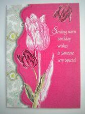 """""""SENDING WARM BIRTHDAY WISHES..."""" PINK TULIPS GREETING CARD + DESIGNER ENVELOPE"""