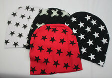 Adorable Cotton Baby Hats w/ Stars, Red, White, Black, and Black w/ Beige Stars