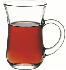 Pasabahce Tea Glass Plain w/ Handle 6pc ( Kuplu Cay Bardagi)