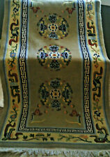 Vintage Chinese Tibetan Rug Wool 3x6 ft High Pile with Fringe Hand Woven