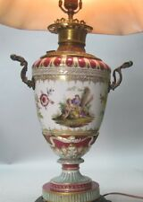 Fine & Rare SIGNED 19th C. KPM Hand Painted Porcelain Oil Lamp  c. 1880  antique