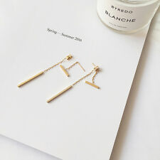 New 925 Sterling Silver & Gold Plated Dainty Bar Stick Line Dangle Stud Earrings