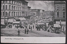 ANTIQUE POSTCARD-MARKET DAY-WILLIAMSPORT PA-EARLY 1900'S