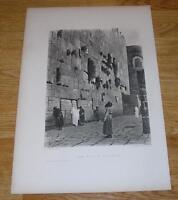 ANTIQUE WEEPING WAILING WALL OF SOLOMON JEWISH JERUSALEM RABBIS OLD ART PRINT