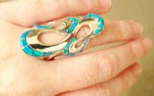 AMAZING RIBBONS Knuckle to Knuckle BRILLIANT BLUE FIRE OPAL Ladies Ring 8