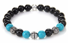 Men's Ladies Yoga Healing Bracelet Bangle Obsidian Silver and Turquoise Beads