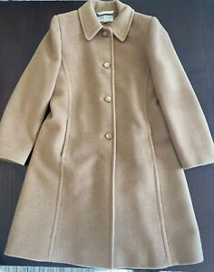 Larry Levine Design Beige 100% Pure Camel Hair Women's Coat Size 8