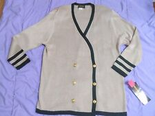 Women's Tan Black Stripe Long Sleeve Double Breasted Sweater Large NEW With Tag
