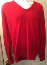 Men's Izod Vintage LACOSTE Red V-Neck Sweater Jumper Sz XL Acrylic