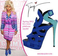 Giuseppe Zanotti Suede Colorblock Sandals Blue Size 37  7