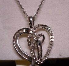 "Diamond ""Heart"" Pendant Necklace 18"" 55 diamonds(Rnd & Bag.) 1.91tcw  MSRP$2599"