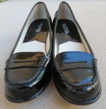 """MICHAEL KORS """"Bayville"""" 1.5"""" High Heel Black Patent Leather Penny Loafers Sz 6M"""