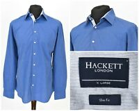 Mens Hackett London Shirt Slim Fit Blue Long Sleeve Cotton Button Size XL