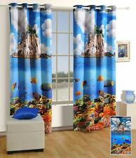 Digitally Printed Aqua Ocean Blockout Eyelet 1 x Curtain 120 x 220cm