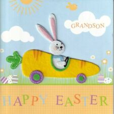 Cute Papyrus Easter Card  to Grandson - Felt Bunny Rabbit in Carrot Car