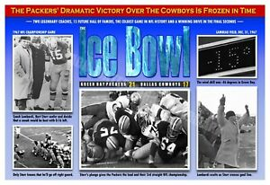 """THE 1967 """"ICE BOWL"""" PACKERS-COWBOYS 19""""x13"""" NFL CHAMPIONSHIP GAME POSTER"""
