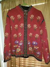 Icelandic Design Womens 100% Wool Cardigan Large Zip Sweater Jacket  Lined