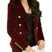 Ladies Velvet Coat Fashion Double-Breasted Slim Fit Blazer Formal Short Jacket