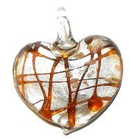 P1255 Yellow Swirl Silver Foil w Gold Sparkle 45mm Heart Lampwork Glass Pendant