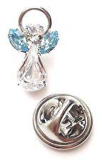 Elements Birthstone Guardian Angel Pin March Aquamarine with Swarovski Crystal