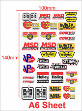 BRAND STICKER LOGO SET A6 SIZE SUIT RC CARS OR MODEL DIECAST 1/10 1/18  REVELL