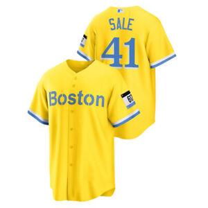 Men's Boston Red Sox Chris Sale Gold 2021 City Connect Replica Jersey