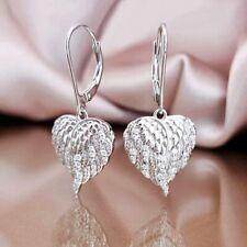 Laddies Clear Crystal 18K White Gold Filled Charming Wings Heart Hoop Earrings