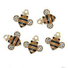 5 x Stunning Gold Plated Bumble Bee Charms with Rhinestones 18x17mm FREE P&P