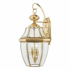 Quoizel Newbury Large Exterior Wall Lantern IP44 Rated In Polished Brass