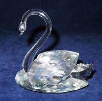 """Figurine or Paperweight Unbranded Large Crystal Swan 5"""" by 3 1/4"""" by 5 1/4"""" tall"""