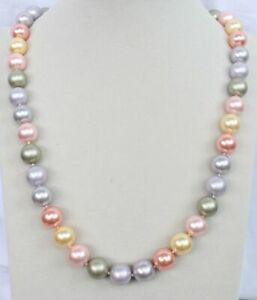 each knot 10 mm southsea color shell pearl necklace18inch