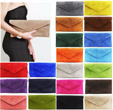 Ladies Real Leather Envelope Clutch Evening Bags Womens Suede Shoulder HandBags